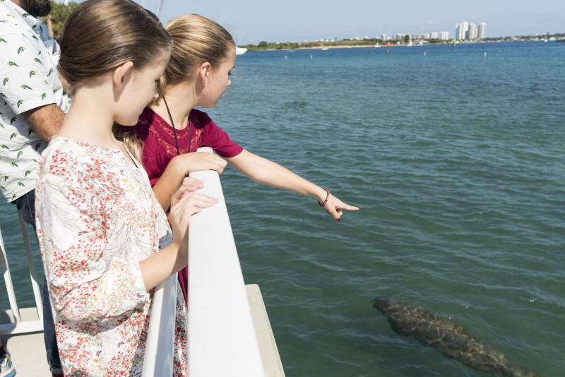 Two girls looking at Manatee from watching deck.